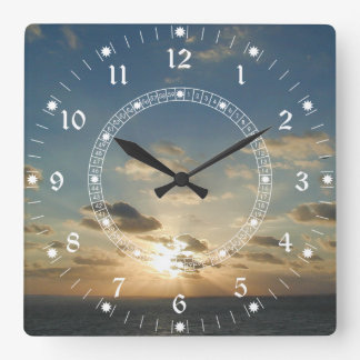 Ocean Sunrise Square Wall Clock