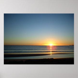 Ocean Sunrise Tairua Beach July 2010 Poster