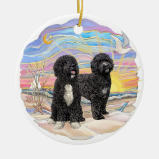 Ocean Sunrise - Two Portuguese Water Dogs Round Ceramic Ornament