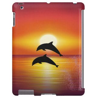 Ocean Sunset Dolphins Couple Playing Love iPad Cas