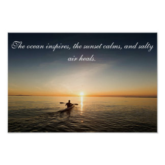 Ocean Sunset Kayak Canoe Inspirational Quote Poste Poster