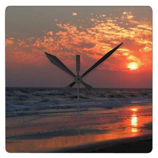 Ocean Sunset - Oak Island, NC Square Wall Clock