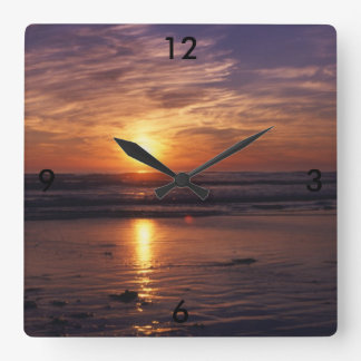 Ocean sunset square wall clock