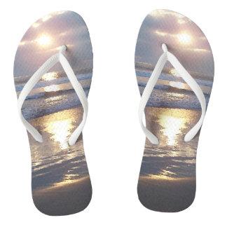 Ocean Sunset Waves Beach Light Flip Flops