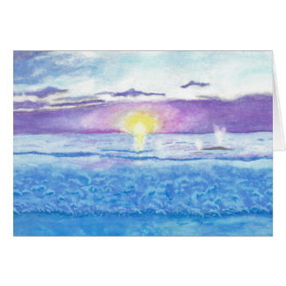 Ocean Sunset with Whales Watercolor Greeting Card