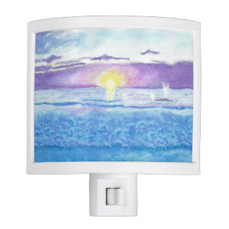 Ocean Sunset with Whales Watercolor Nightlight Night Lite