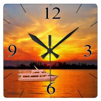 Ocean Sunset Yacht (keep or remove the yacht) Wallclocks