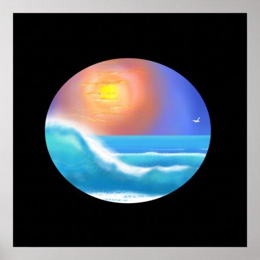 Ocean Surf Oval Poster
