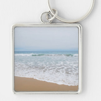 Ocean Surf Southern California Silver-Colored Square Keychain
