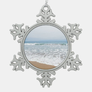 Ocean Surf Southern California Snowflake Pewter Christmas Ornament