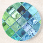 Ocean Teal Glass Mosaic Tile Art Coaster