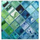 Ocean Teal Glass Mosaic Tile Art Napkin