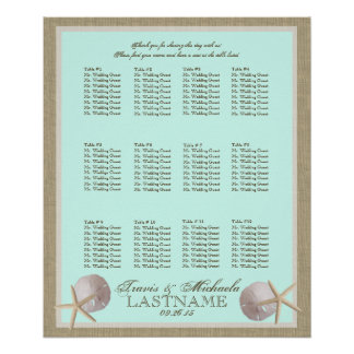 Ocean Theme and Burlap Seating Chart Poster