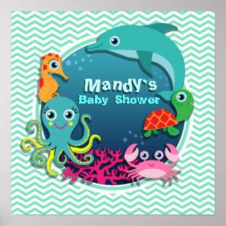 Ocean Theme Baby Shower Aqua Green Chevron Poster