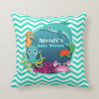 Ocean Theme Baby Shower; Aqua Green Chevron Throw Pillow