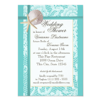 "Ocean Theme Wedding Shower 5"" X 7"" Invitation Card"