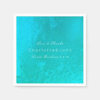 Ocean Tiffany Aqua Metallic Beach Wedding Bridal Paper Napkin
