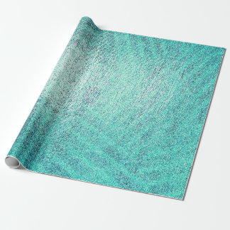 Ocean Tiffany Aqua Paint Stripes Linen Metallic Wrapping Paper