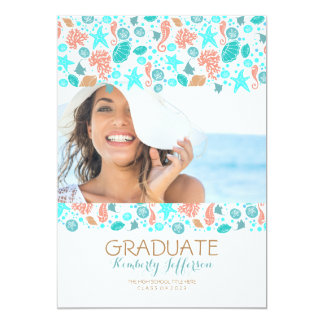 Ocean Treasures White Beach Photo Graduation Party Card