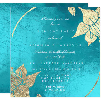 Ocean Turquoise Champaign Floral  Birthday Party Card
