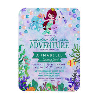 Ocean Under the Sea Mermaid Theme Birthday Party Magnet