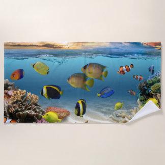 Ocean Underwater Coral Reef Tropical Fish Beach Towel