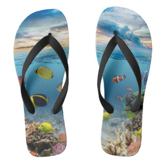 Ocean Underwater Coral Reef Tropical Fish Flip Flops