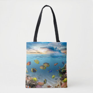 Ocean Underwater Coral Reef Tropical Fish Tote Bag