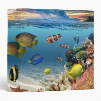 Ocean Underwater Coral Reef Tropical Fish Vinyl Binder