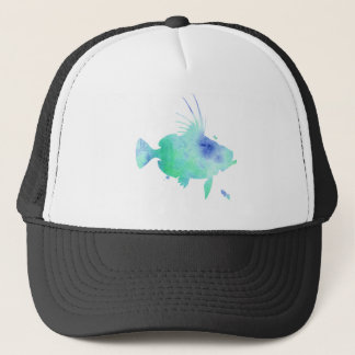 ocean vibes aqua fish trucker hat