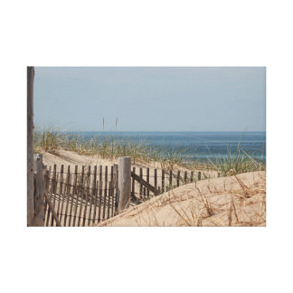 Ocean view and dune fence at Race Point, Cape Cod Canvas Print