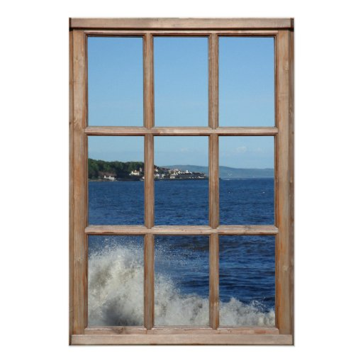 Ocean View from a Window with Sea Spray Posters