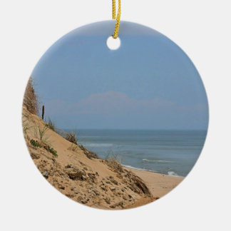Ocean view from the bluff round ceramic ornament