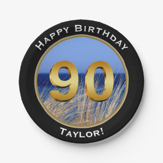 Ocean View Happy 90th Birthday with Name 7 Inch Paper Plate