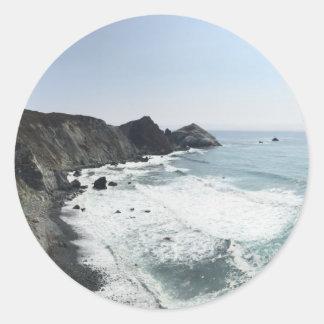 Ocean View Pacific Coast Highway Big Sur Classic Round Sticker