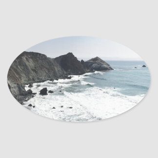 Ocean View Pacific Coast Highway Big Sur Oval Sticker