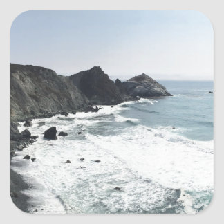 Ocean View Pacific Coast Highway Big Sur Square Sticker