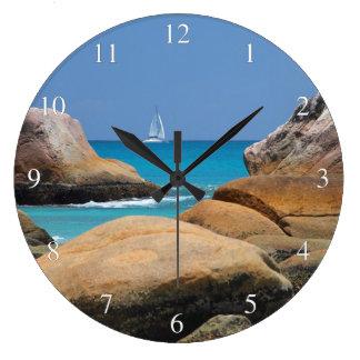 Ocean View Sailboat Rocks Large Clock
