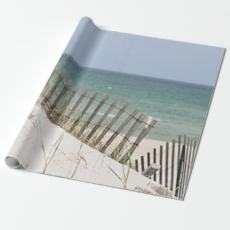 Ocean view through the beach fence wrapping paper
