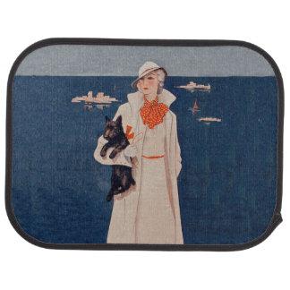 Océan vintage de chien de Madame White Suit Scotty Tapis De Voiture