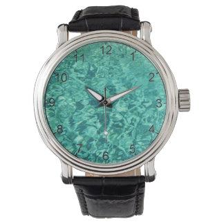 Ocean Water Black Leather Strap Watch