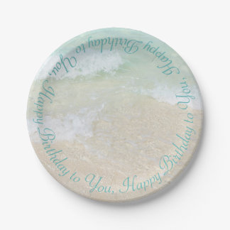 Ocean Water Happy Birthday Curved Text 7 Inch Paper Plate