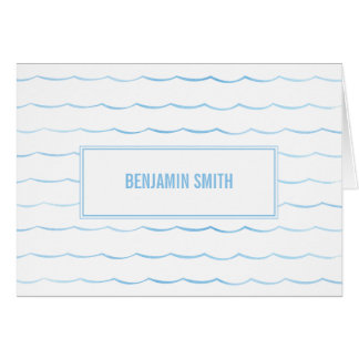 Ocean Wave Nautical Blue Watercolor Stationery Card