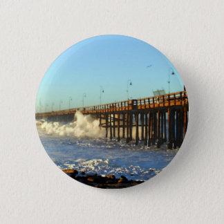 Ocean Wave Storm Pier 2 Inch Round Button