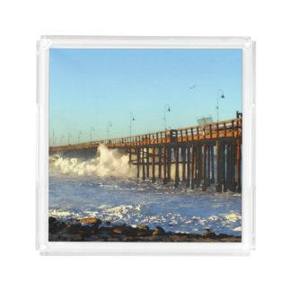 Ocean Wave Storm Pier Acrylic Tray