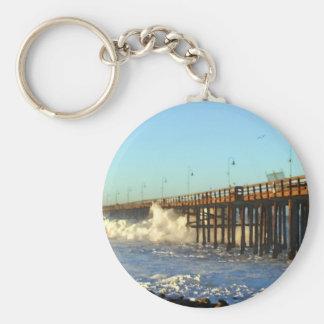 Ocean Wave Storm Pier Basic Round Button Keychain