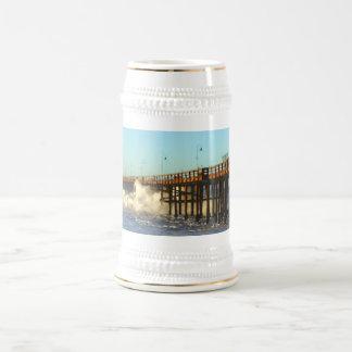 Ocean Wave Storm Pier Beer Stein