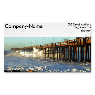 Ocean Wave Storm Pier Business Card Magnet