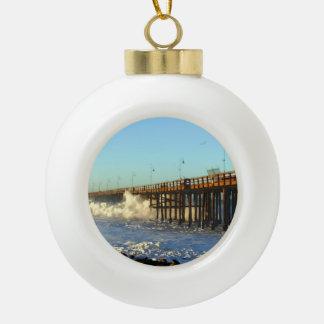 Ocean Wave Storm Pier Ceramic Ball Ornament
