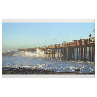 Ocean Wave Storm Pier Fabric